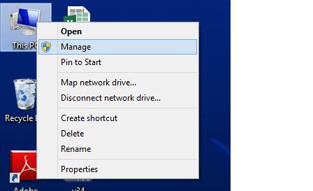 my computer manage option