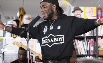 Burna Boy performs during a Tiny Desk concert on Sept. 16, 2019.