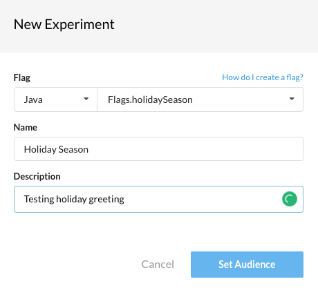 New Experiment Dialog on Rollout.io