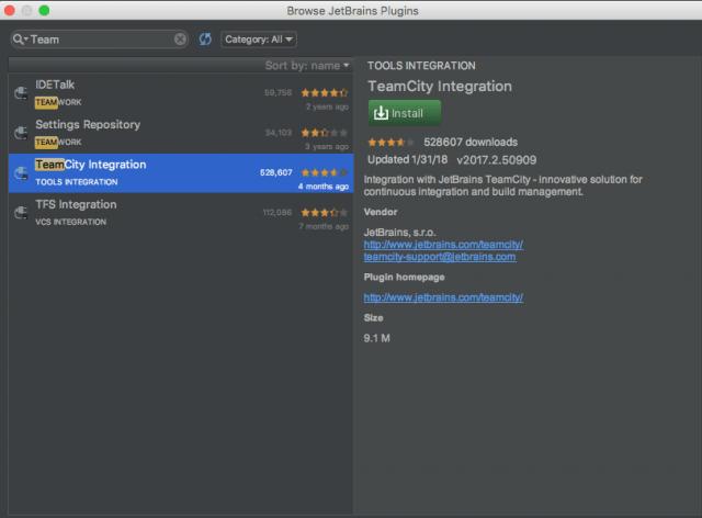 IntelliJ TeamCity Pluging