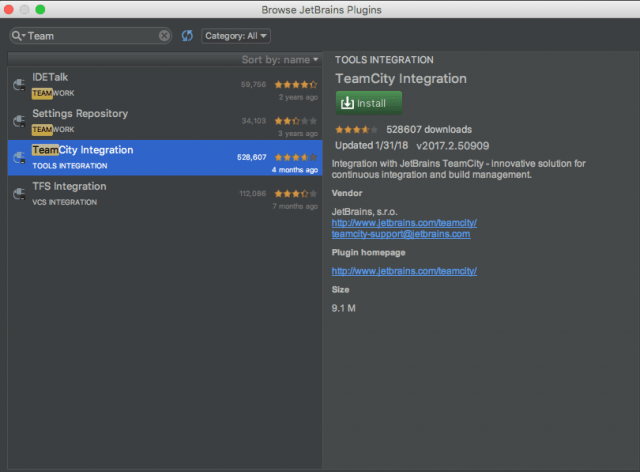 IntelliJ TeamCity Pluging