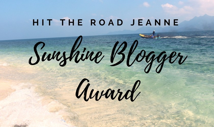 Hit the road Jeanne au Sunshine Blogger Award