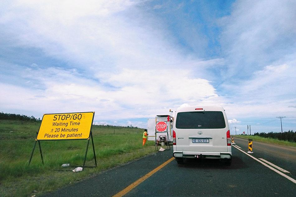 Travaux sur une route en Afrique du Sud