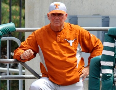 MANHATTAN, KS - APRIL 26: Head coach Augie Garrido of the Texas Longhorns looks out onto the field from the dugout during a game against the Kansas State Wildcats at Tointon Stadium April 26, 2008 in Manhattan, Kansas. Kansas State defeated Texas 4-1. (Photo by Peter Aiken/Getty Images)