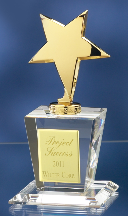Gold Star Crystal Award 2708G 2758G