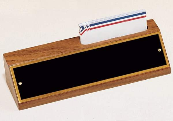 Walnut Desk Name Plate With Business Card Holder-4213