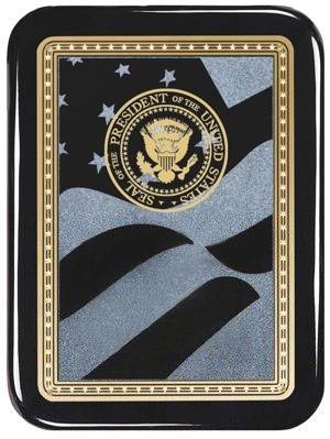Black Plaque With American Flag Engraving Plate-4200