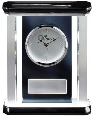 GK37 Silver Pillar Desk Clock