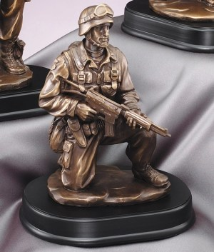 "Kneeling solider statue in full gear with gun, mounted on black base, MIL204 is 6"" x 10"" Size, Weighs 4.8 lbs."