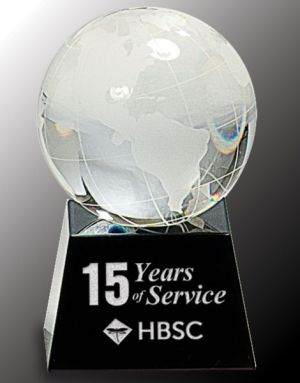 CRY037 Crystal Globe Paperweight