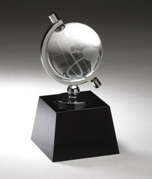 Crystal Globe On Black Base CRY315