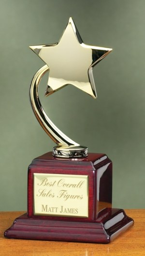 Gold Star Rosewood Trophy 2893G
