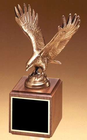 "Antique bronze casted eagle statue mounted on walnut base, 1293/XL is 10.75"" tall, Weighs 5 lbs"