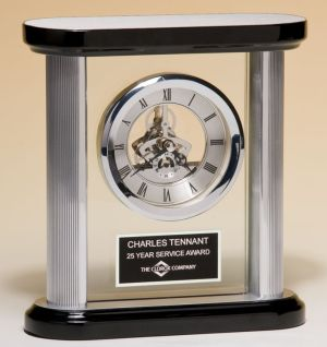 BC977 Black & Silver Pillar Clock