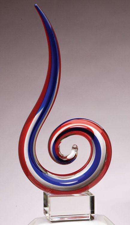 GLSC1 Red & Blue Swoop Glass Art