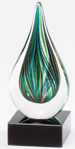 Green Teardrop Glass Art GLSC44