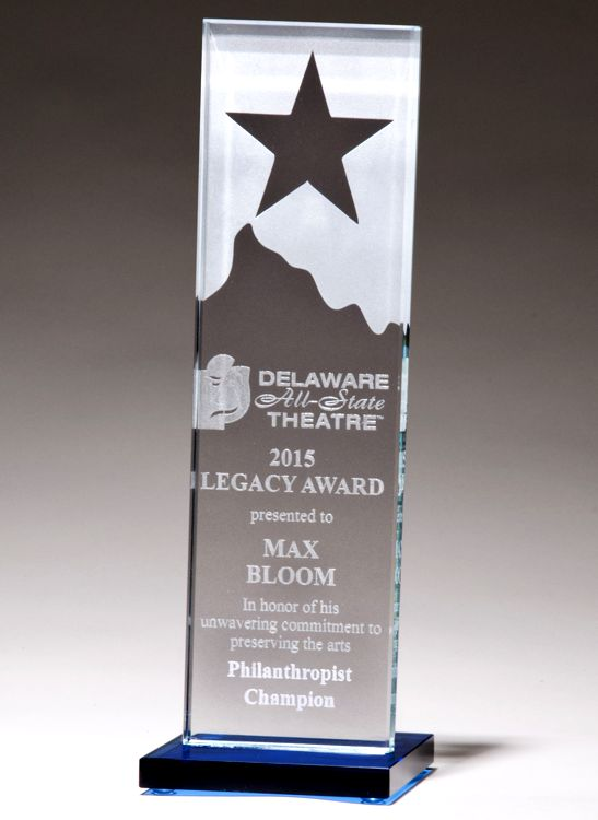 G2883 Star & Mountain Glass Trophy