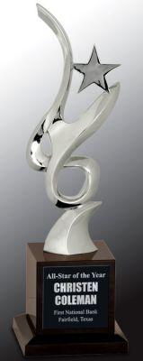CRY061 Silver Star Crystal Trophy