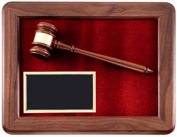P202 Walnut Gavel Plaque