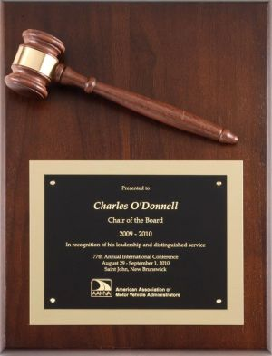 Vertical Gavel Plaque P257