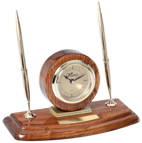 Walnut Desk Clock Pen Set WC34