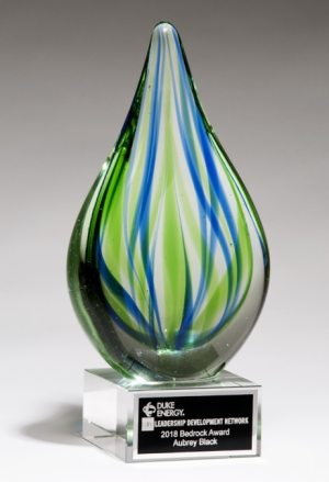 2266 Blue & Green Teardrop Art Glass, Glass teardrop with blue & green colors throughout, Mounted on a glass base