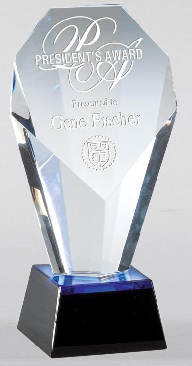 CRY633 Blue Slant Crystal Trophy