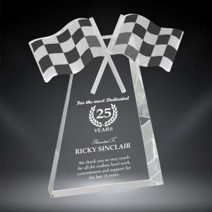 Checkered Flag Trophy made from crystal with free engraving.