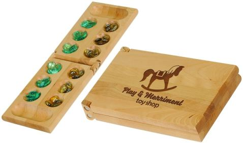 Mancala game board that folds up into a handy carrying case. The front can be personalized with laser engraving or full color process.