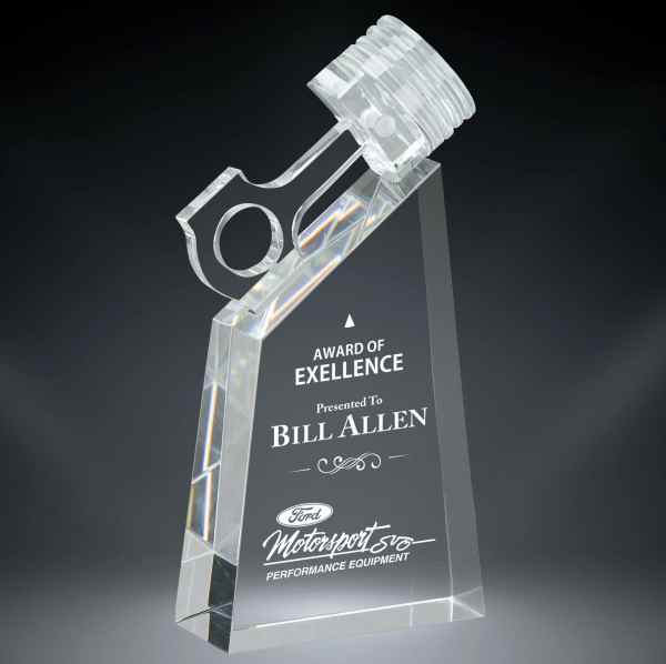 Piston Trophy made from solid crystal with an engraving area below.