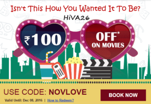 bookmyshow offers 100rs off coupon novlove hiva26