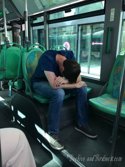 York sleeping on bus