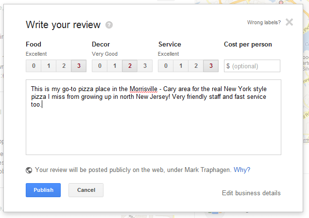 Google Plus Local search rating form