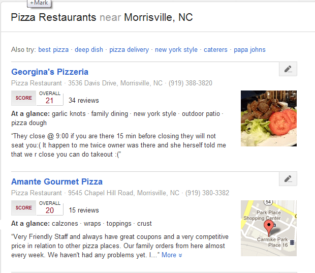 Google Plus Local search result for pizza