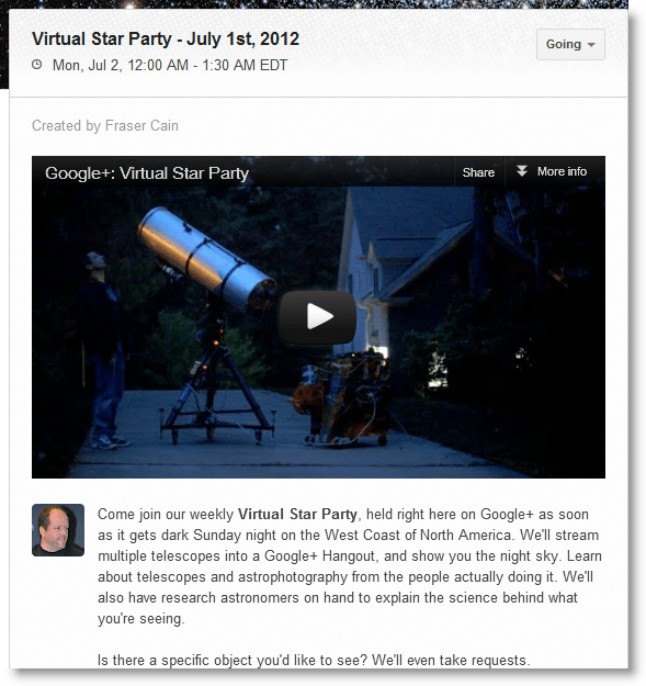 Google+ Virtual Star Party Invite
