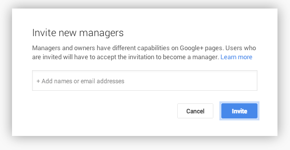 Invite new Google Plus Page managers
