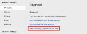 Change Name on YouTube Settings