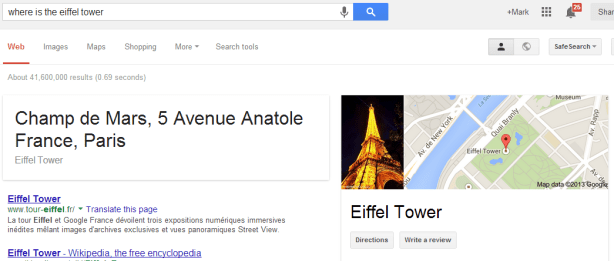 Google Knowledge Graph result