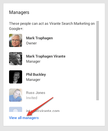 Google Plus Page manager box