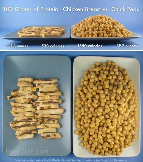 Infographic chicken breast vs chick peas calories