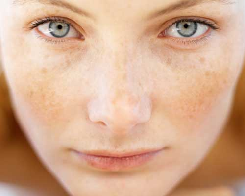 woman's face with clear healthy skin