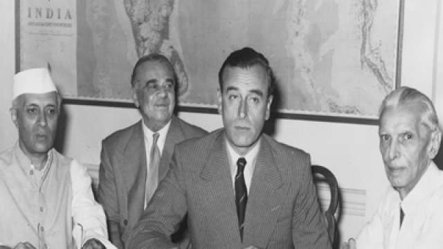 Lord Mountbatten with Jawaharlal Nehru and Muhammad Ali Jinnah at the conference disclosing Britain's partition plan for India. (Getty Images)