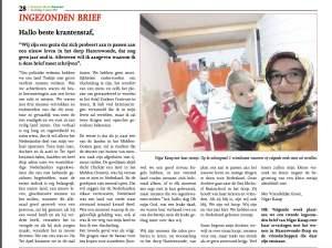 Brief Nigar in lokale krant