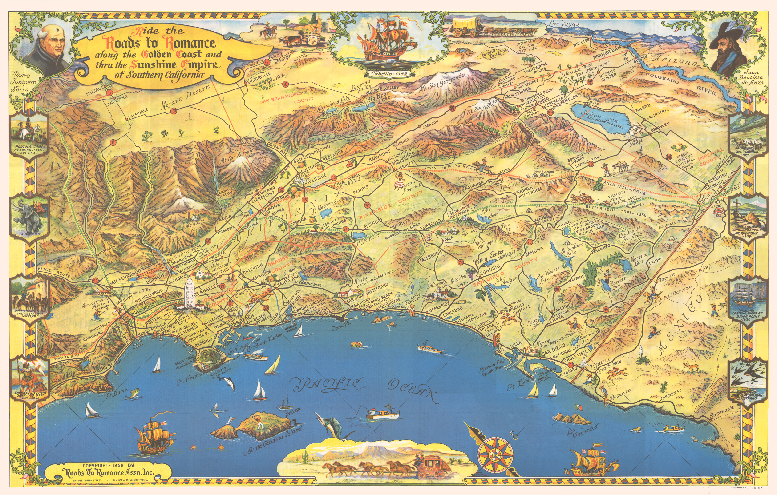 Roads To Romance Map Southern California