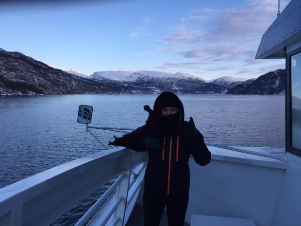 Cold but beautiful views from the skibat ferry