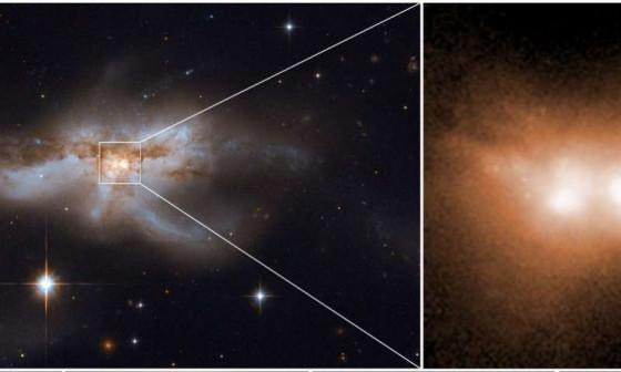 天文學家在合併星系的中心發現了一對黑洞