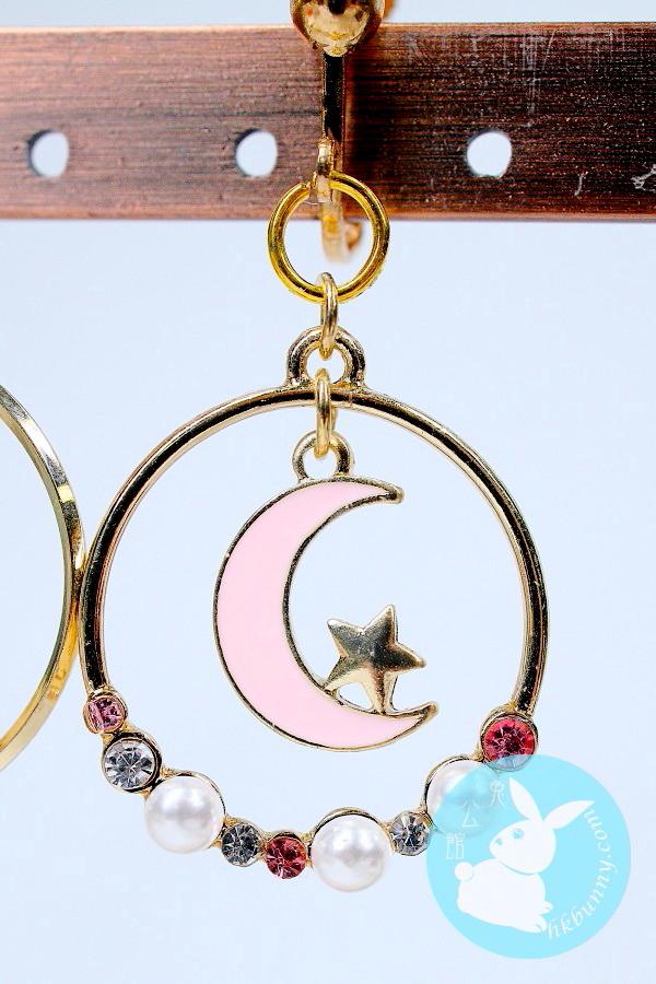 月與兔子耳環 (粉紅色)