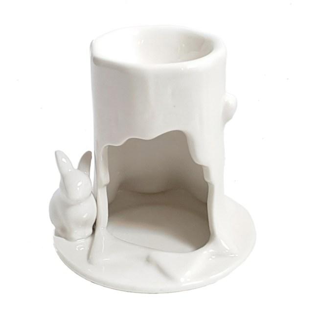 白陶瓷浮雕兔子香熏爐