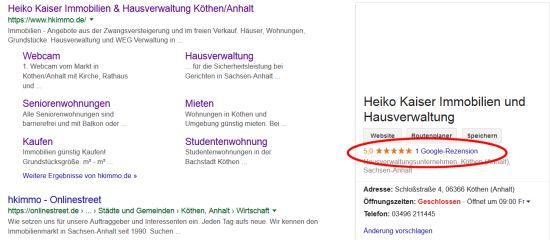 Google Bewertung abgeben