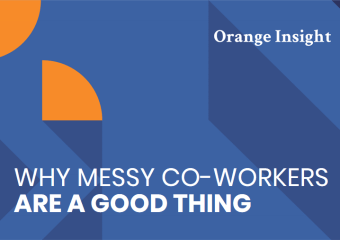 Blue graphic header reading why messy co-workers are a good thing